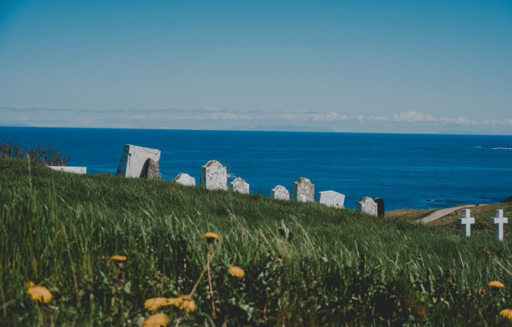 A cemetery facing the ocean.