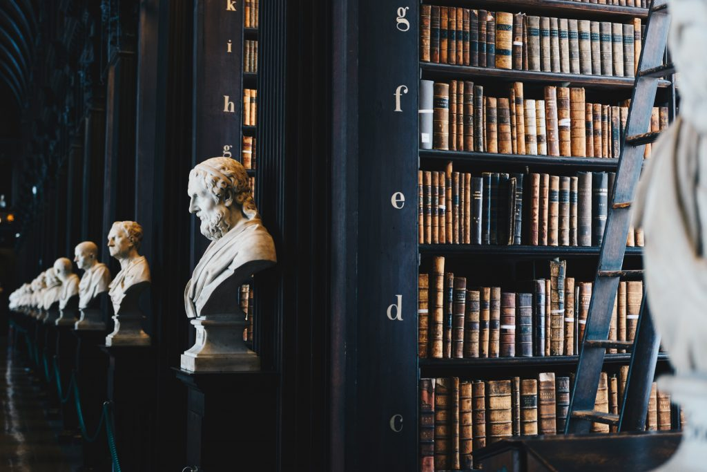 A dark library filled with books and statuesque heads.
