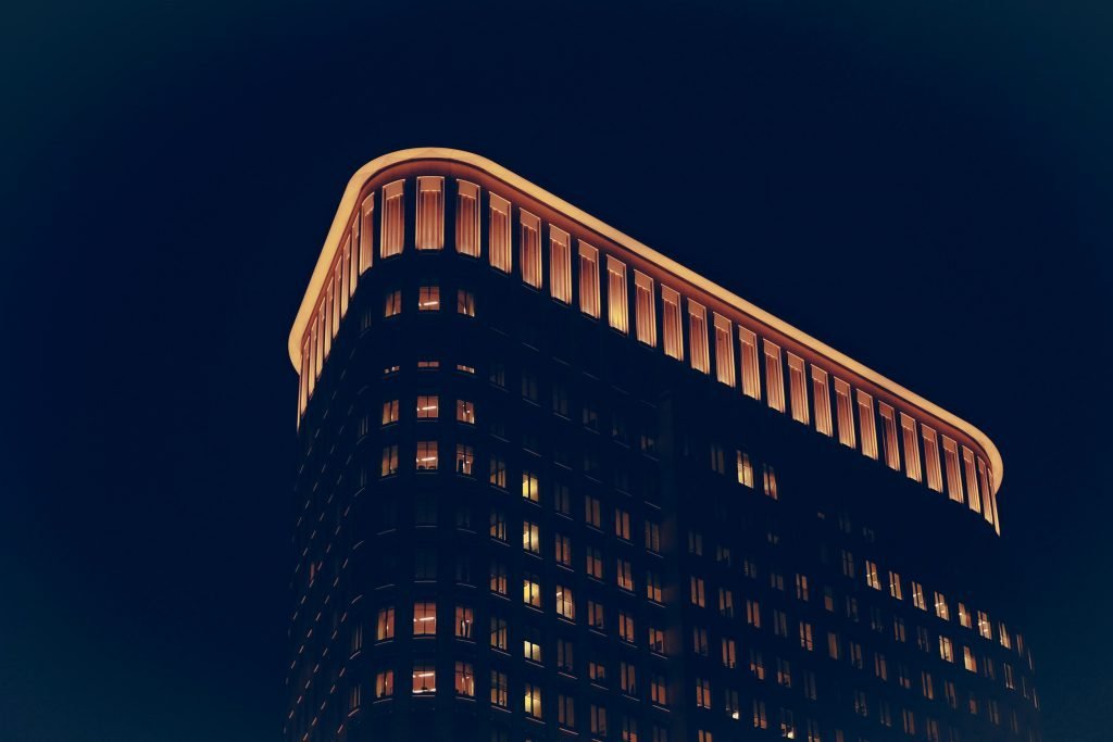 A building lit up at night.