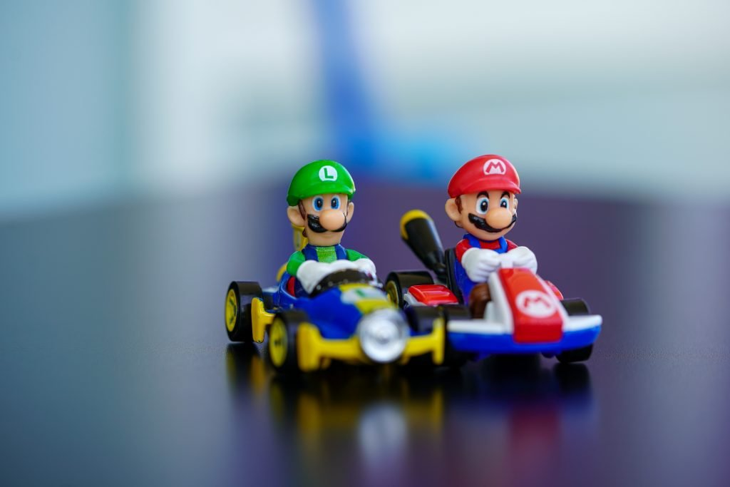 Two brothers racing each other.