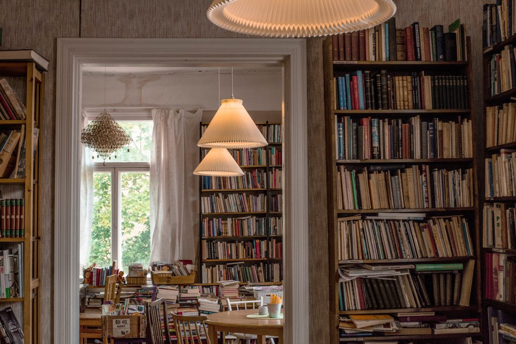 Many books in a home library.