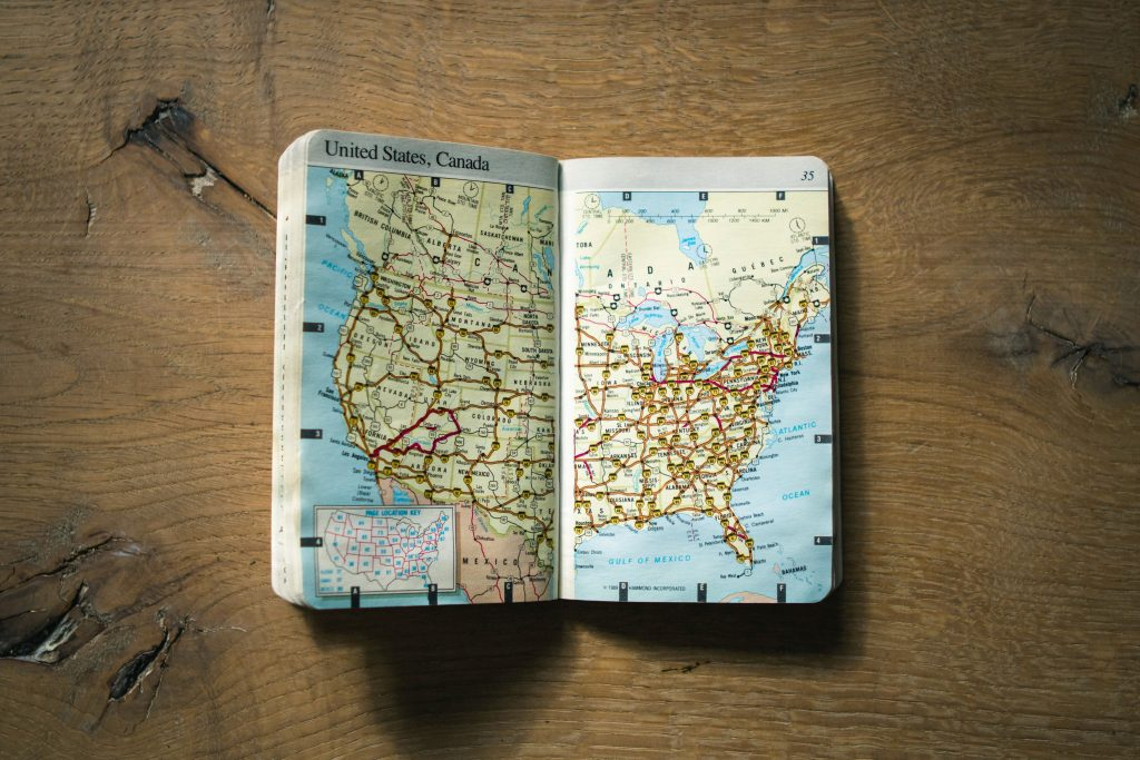 An atlas of the US and Canada.