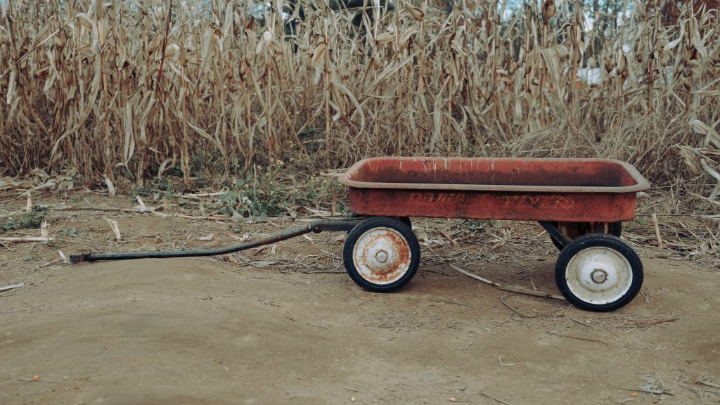 An old red wagon.