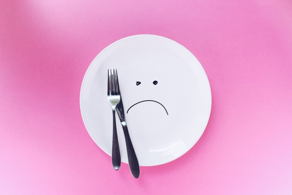 A plate with a sad face on it.