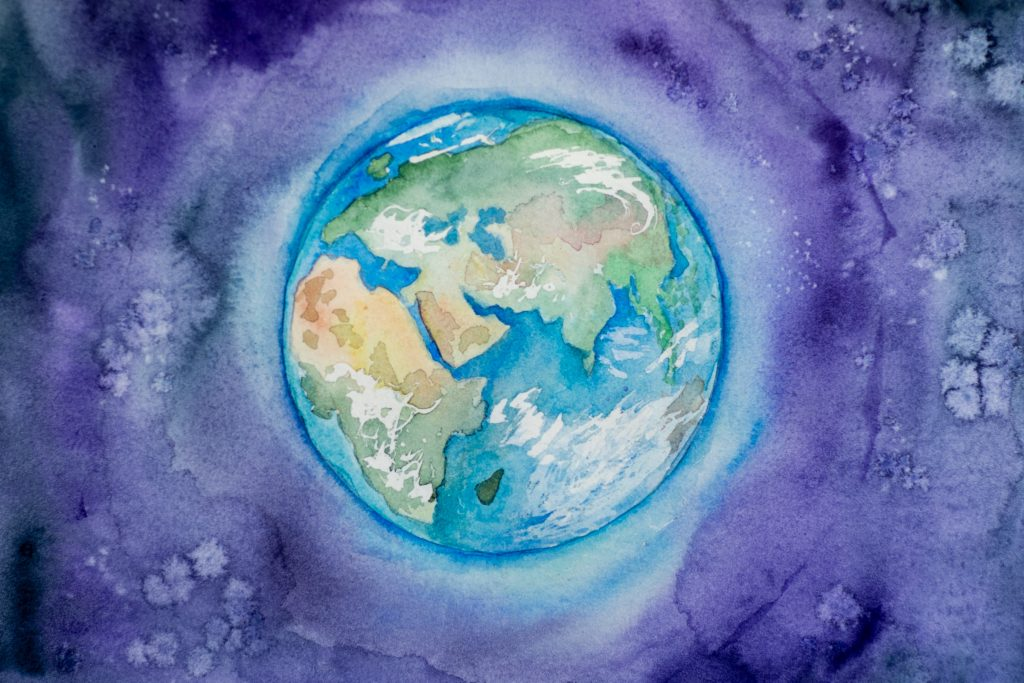 A watercolor of Earth.